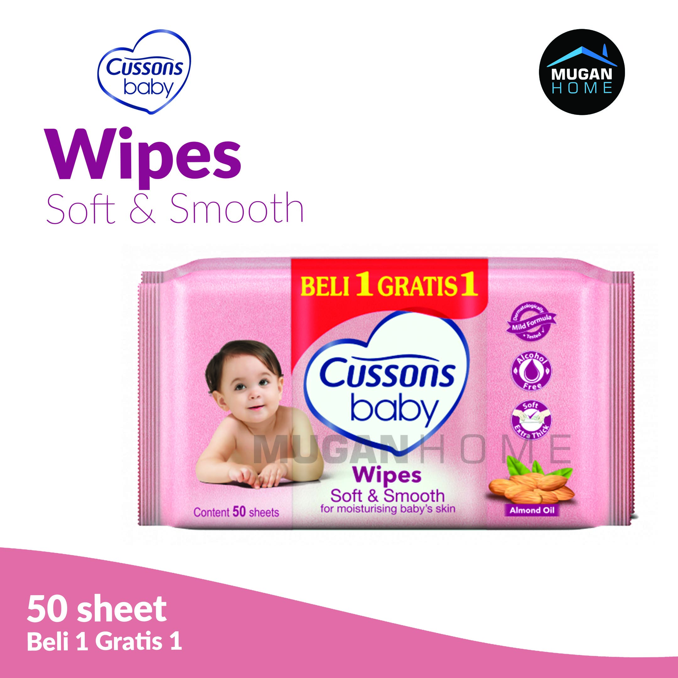 CUSSONS BABY WIPES 50SHEETS SOFT & SMOOTH BUY 1 GET 1