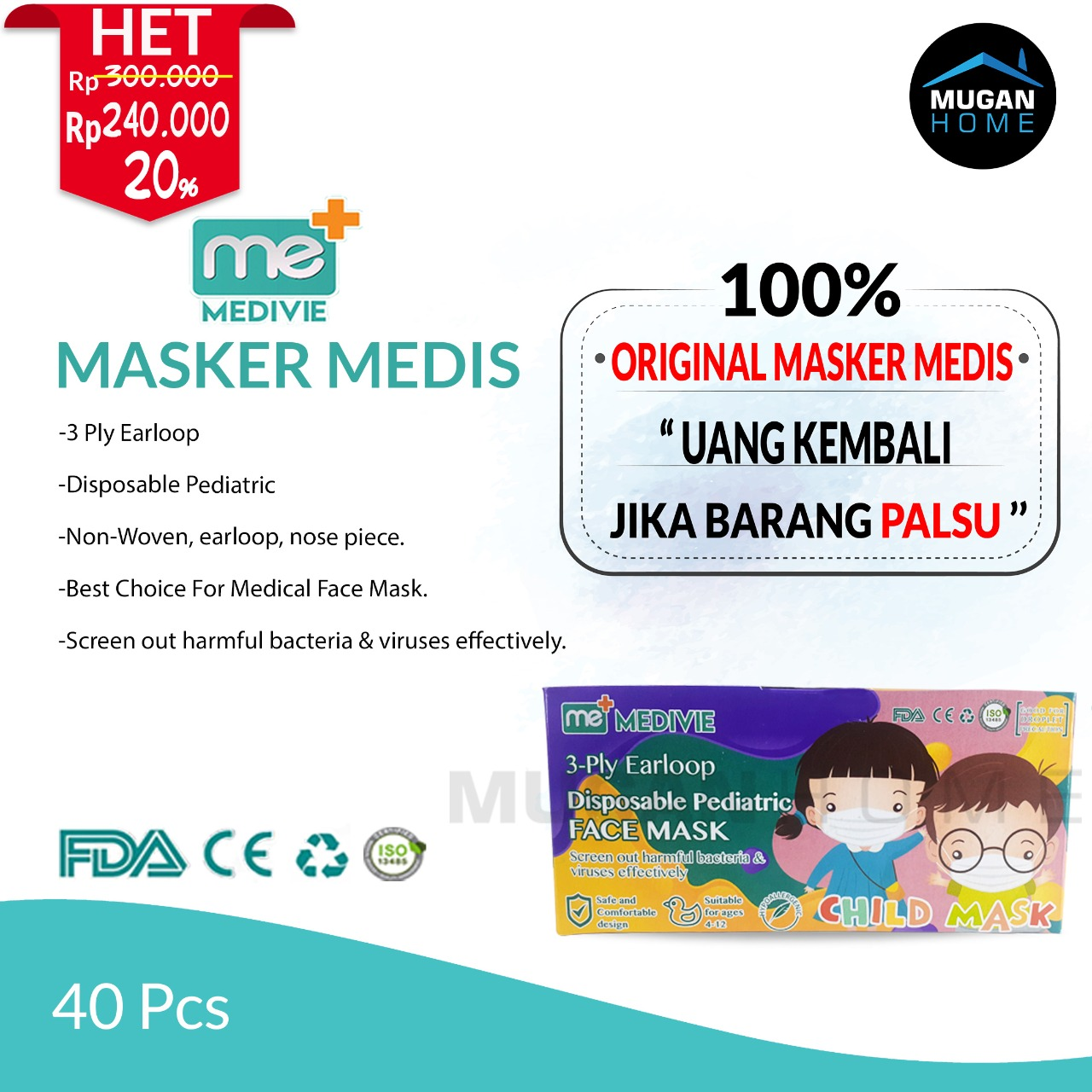 MEDIVIE MEDICAL 3PLY DISPOSABLE FACE MASK 40PCS ANAK-ANAK