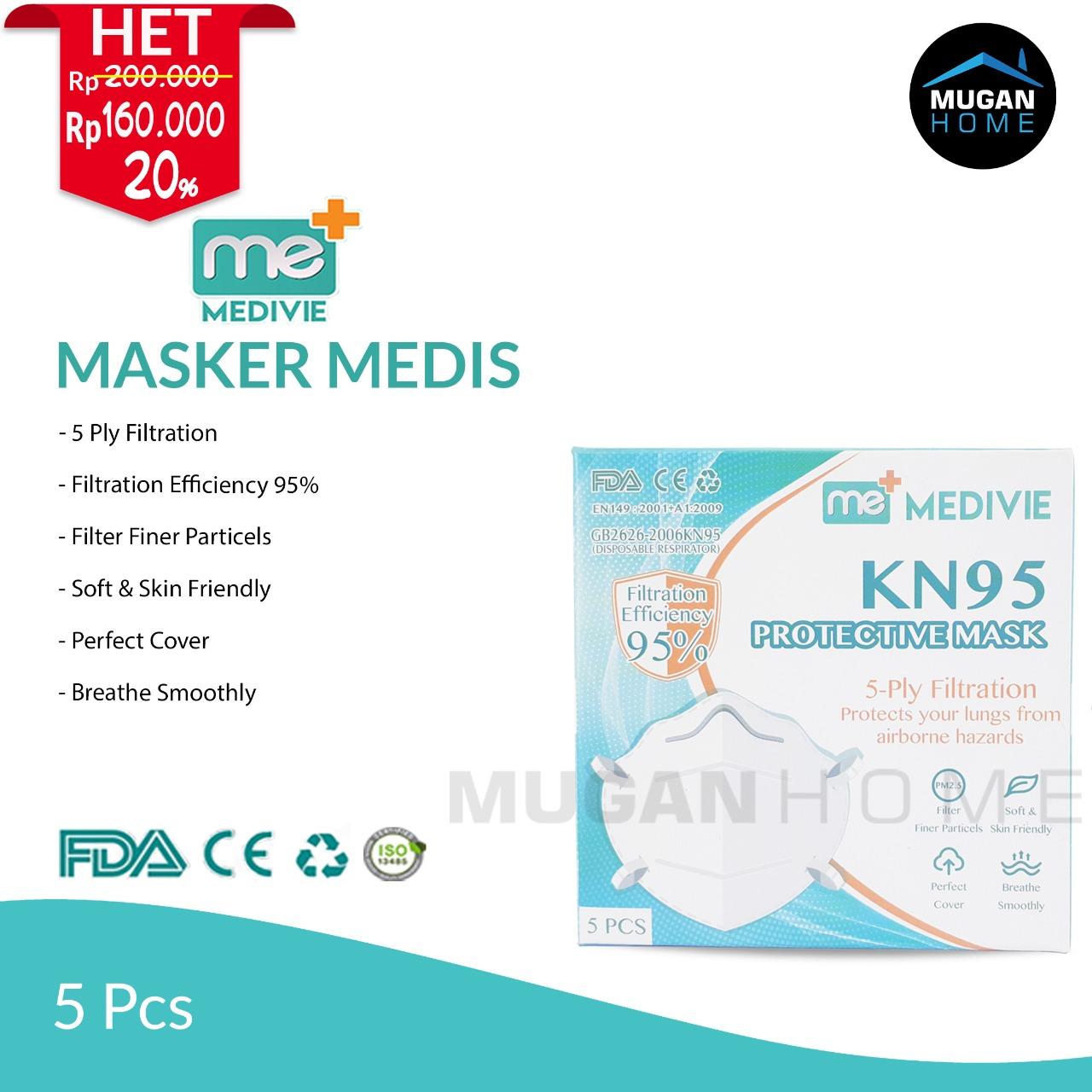 MEDIVIE MEDICAL KN95 PROTECTIVE MASK 5PCS
