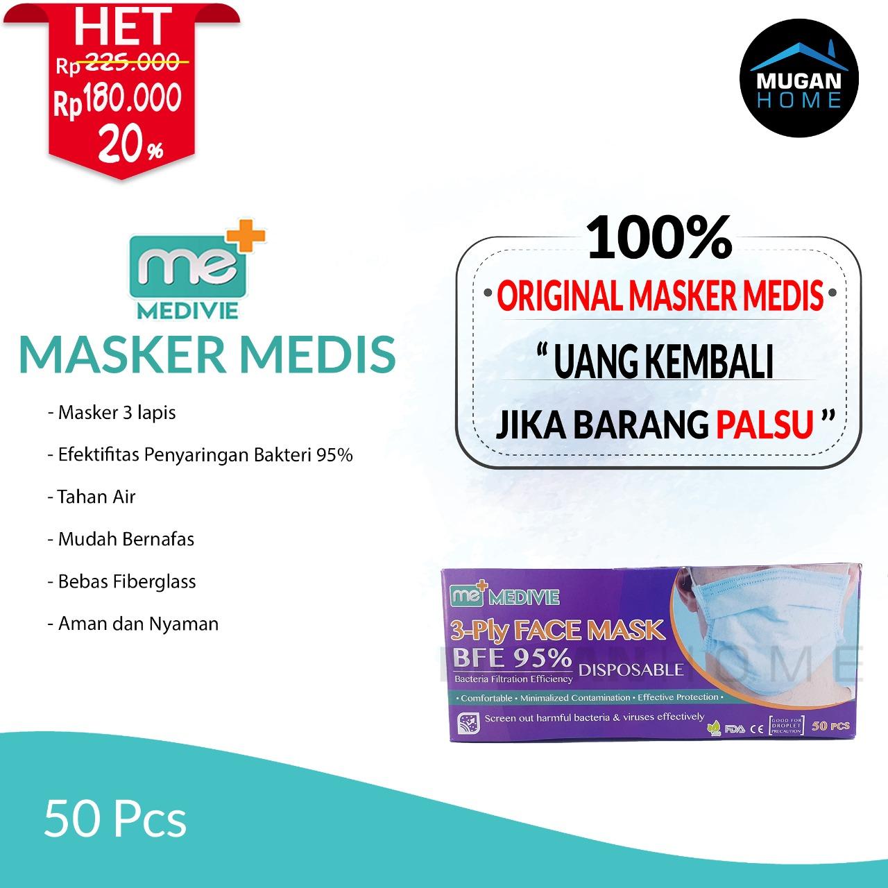 MEDIVIE MEDICAL 3PLY DISPOSABLE FACE MASK 50PCS BLUE BFE95%