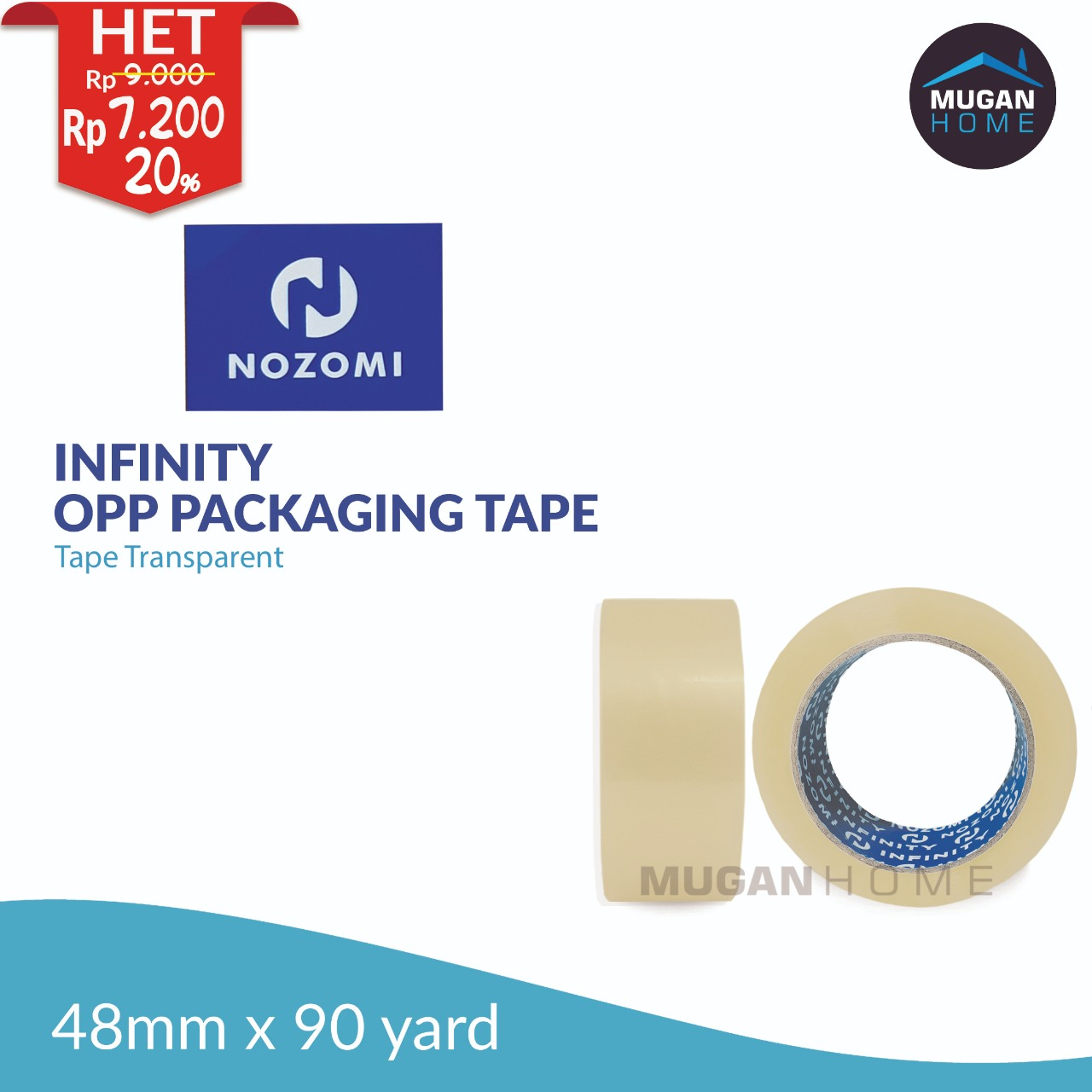 NOZOMI INFINITY OPP PACKAGING TAPE 48MM X 90YARD CLEAR