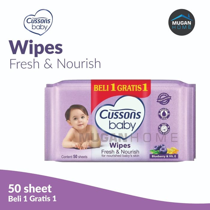 CUSSONS BABY WIPES 50SHEETS FRESH & NOURISH BUY 1 GET 1