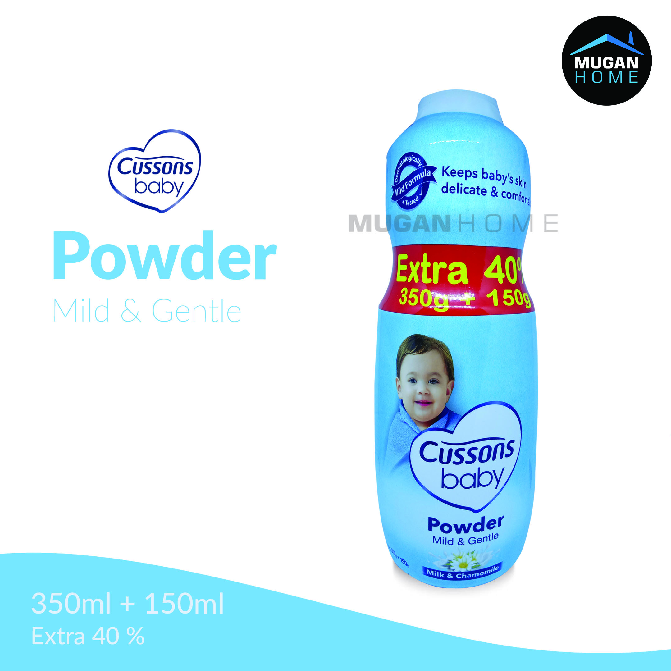 CUSSONS BABY POWDER 350GR MILD & GENTLE EXTRA 40% 150GR