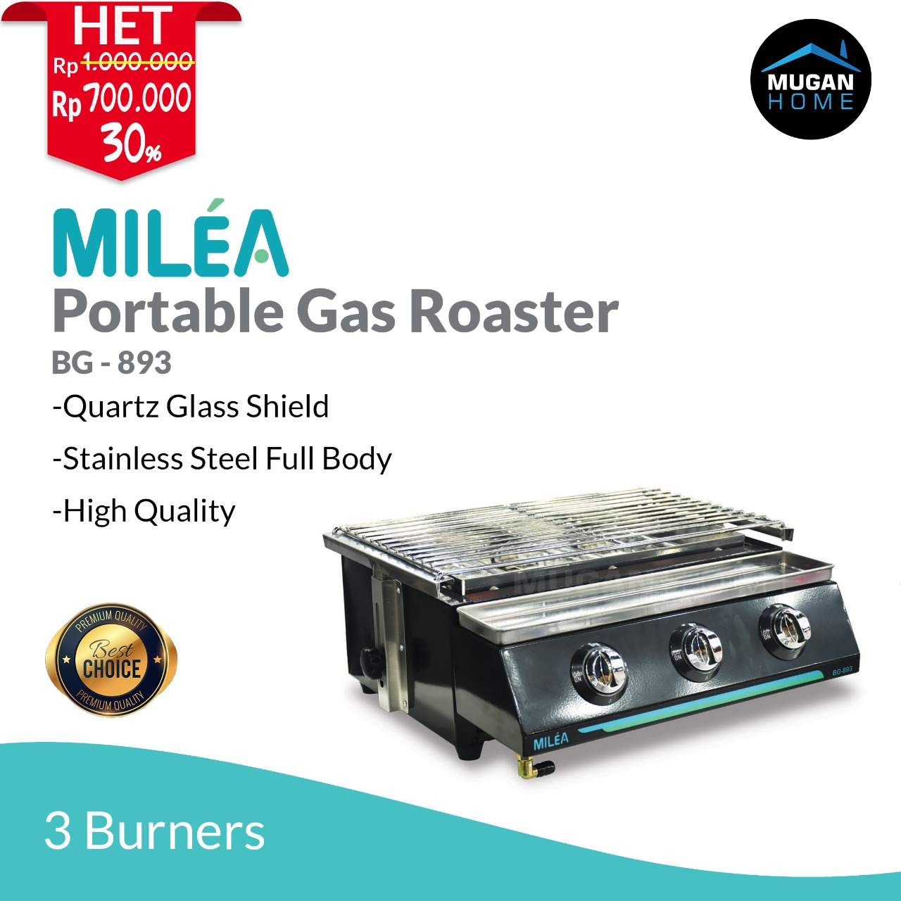MILEA PORTABLE GAS ROASTER 3 BURNERS
