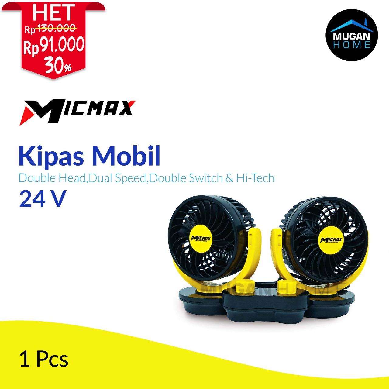 MICMAX DOUBLE HEAD VEHICLE FAN 24V 2 SWITCH 2 SPEED MX-D824