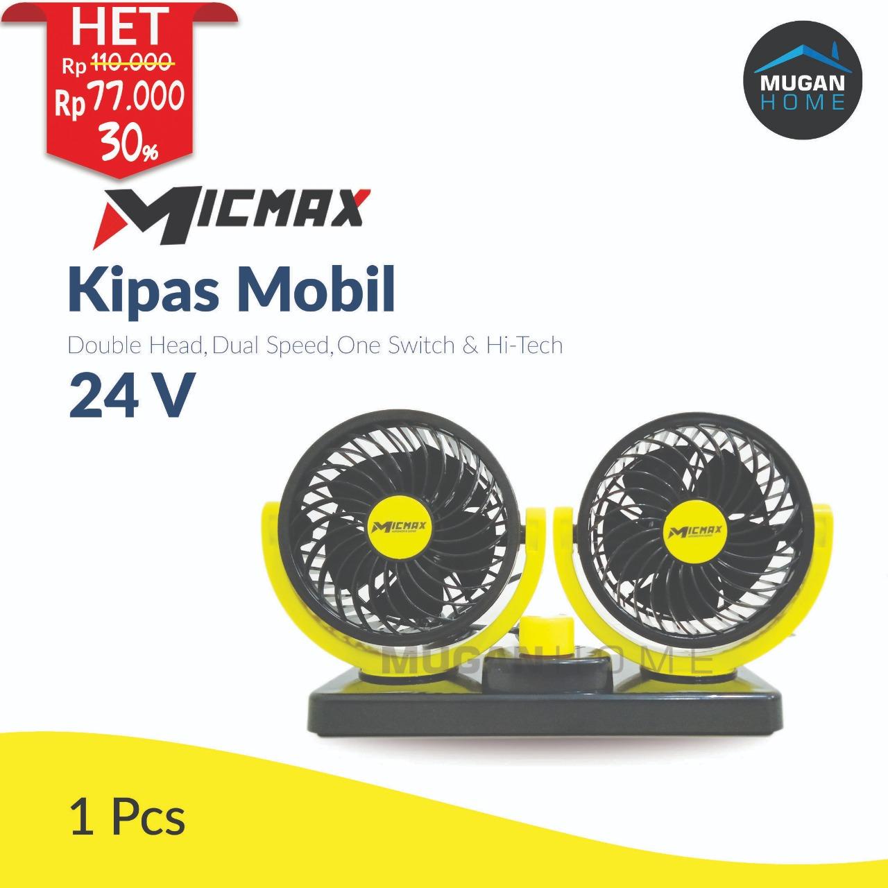 MICMAX DOUBLE HEAD VEHICLE FAN 24V 1 SWITCH 2 SPEED MX-D724